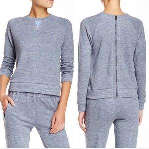 J Brand Debbie Back Zip Linen Blend Sweatshirt
